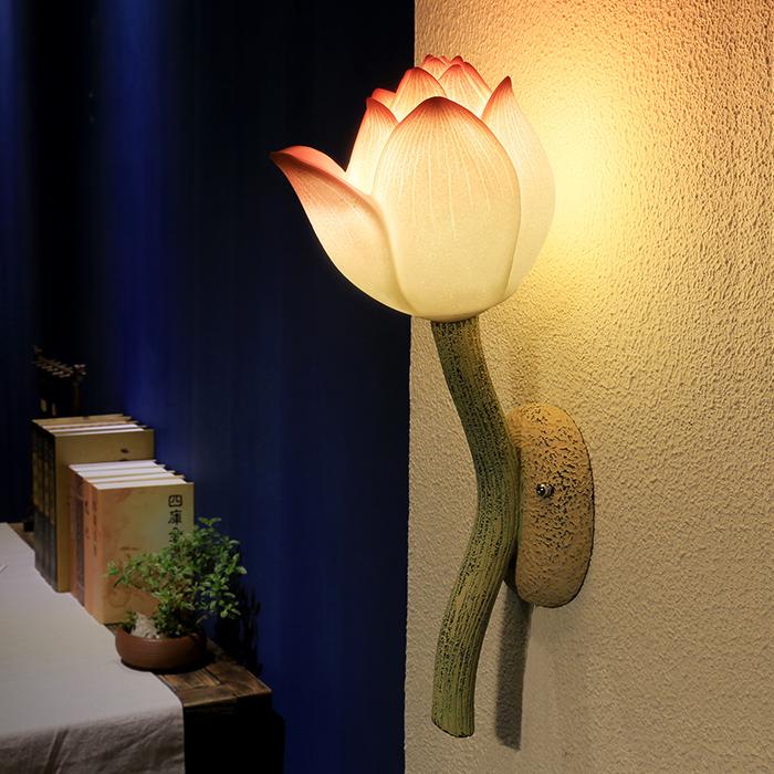 创意现代新中式壁灯客厅过道阳台卧室床头古典田园荷花艺术灯饰