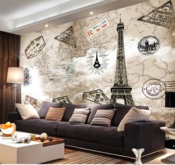 臻心家居大型壁画墙纸客厅卧室书房影视背景墙欧式复古 铁塔地图