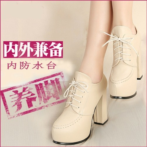 New Europe head of thick high heel shoes comfortable coarse with baotou high waterproof boots women's shoes