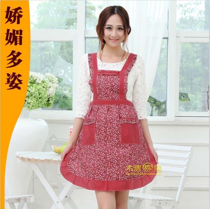 Cotton flowers with rain Korean home service specials double apron kitchen apron fashion cute Princess package mail
