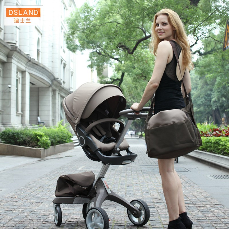 DSLAND European style baby cart four-wheel shock pram high landscape stroller can be folded flat