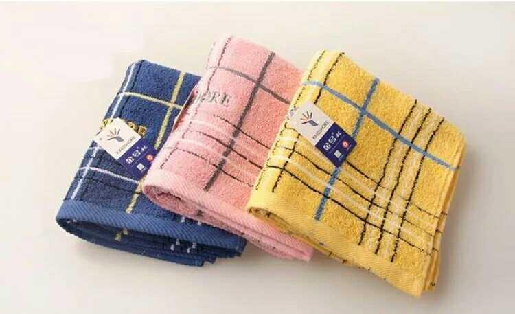 金号毛巾纯棉提缎情侣面巾3149H格子英伦风格简约时尚面巾78x34cm