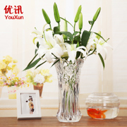 The living room decoration Fuguizhu hydroponic flower vase vase style large transparent glass floor of lily flower