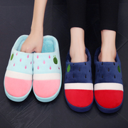 Bag of cotton slippers with couples in warm winter with thick bottom confinement Home Furnishing indoor antiskid slippers male winter