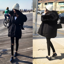Daily specials winter long coat female thick super long wool collar DrawString waist cotton black down coat