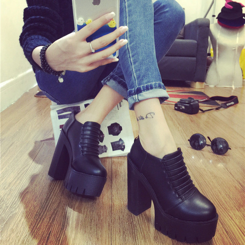 Korea new 2015 spring high chunky heels shoes retro uniforms round head soft shoes wave