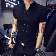 The summer wind Chinese new short sleeved T-shirt collar shirt young Korean men V slim sportswear tights