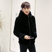 Imitation mink coat young men short fur mink mink mink cashmere Hoodie hooded rabbit hair fashion