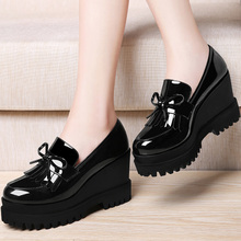 Hongkong it purchasing and new platform shoes thick leather female bottom slope shoes casual shoes shoes female British documentary