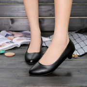 Summer dress shoes with white female black shoes leather shoes OL interview etiquette occupation low heels