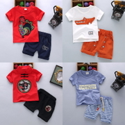 The boy wear short sleeved suit new female baby infant clothes set of two 1-2-3-4-5 years old summer tide