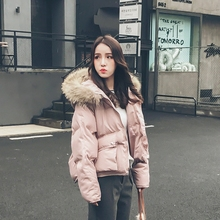 The new winter clothes fashion Korean Raccoon Fur Hoodie clothing female short bread thickened Mianfu padded jacket jacket tide