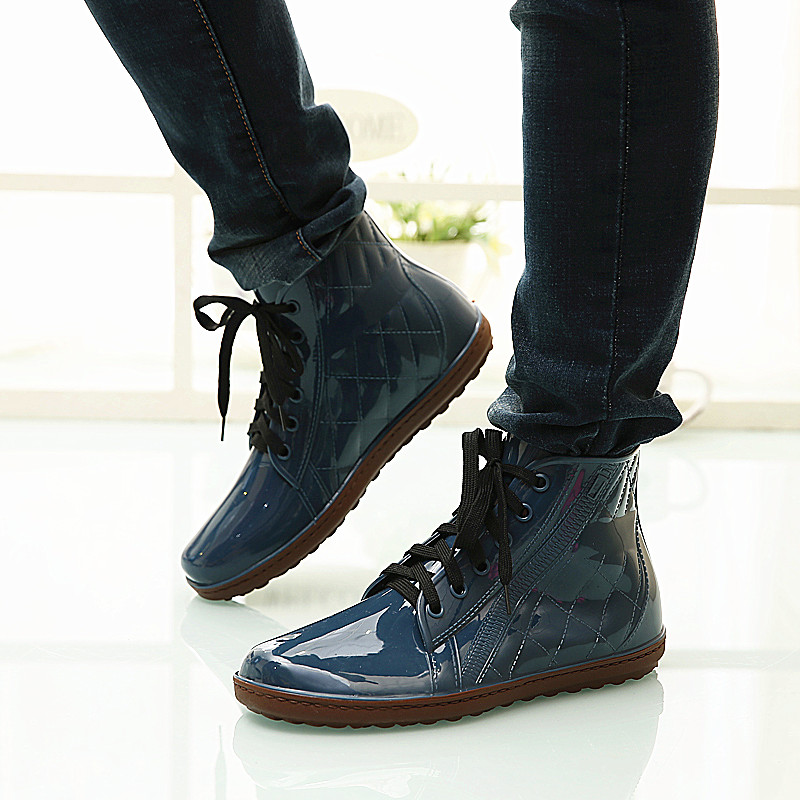 Shipping male Korean fashion boots short tube shoes imitation canvas water can add warm cotton waterproof non slip shoes Martin