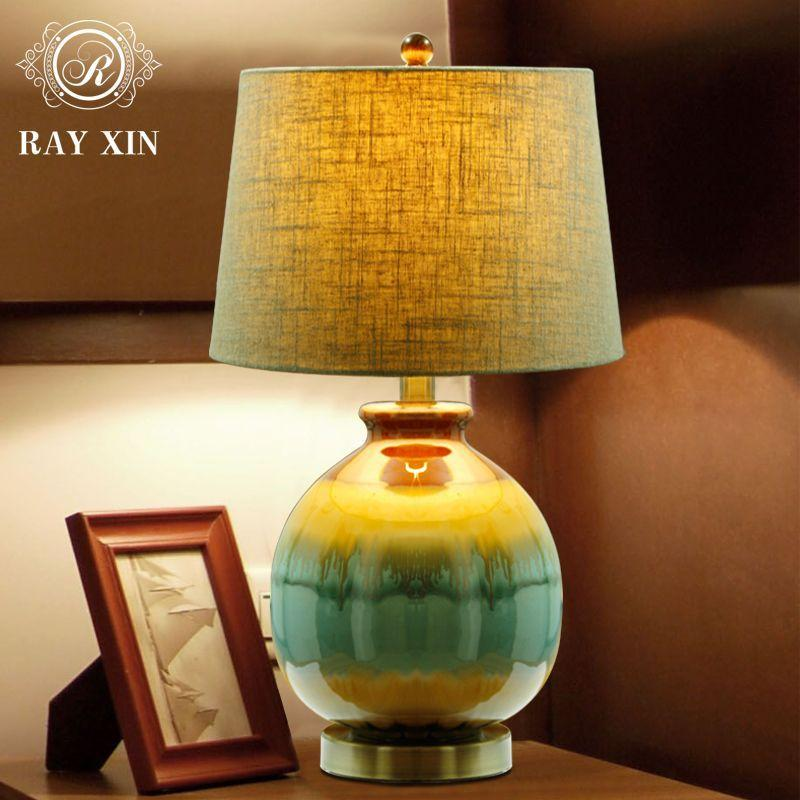 Simple ceramic table lamp American bedroom bedside lamp creative new Chinese character study the living room European warm warm light