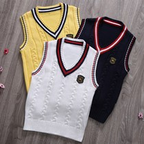 Spring new child vest sleeveless cotton sweaters men and girls wear thin Turtleneck wool knit vest