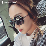 2017 new sunglasses sunglasses female tide big box polarizer moonfaced retro glasses MS Korea trendsetter