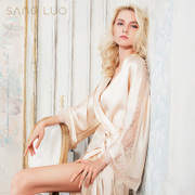 Sang Luo spring and summer new female silk sexy lace silk pajamas long long-sleeved silk robes