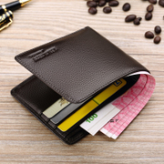 Male short thin leather purse money chuck cowhide youth vertical cross section genuine leather wallet a student tide