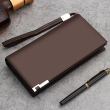 Male long wallet wallet cowhide leather zipper vertical wrapping clip youth tide of Large Capacity Mobile Phone Wallet