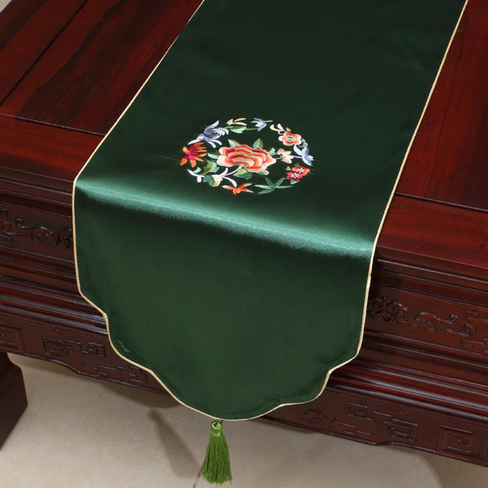 艺必旭中式刺绣田园桌旗桌布茶几布床旗柜旗桌垫长餐桌布布艺定制