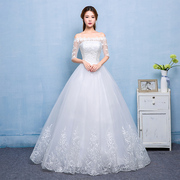 A word shoulder white wedding dress 2017 spring new bride wedding princess skirt simple