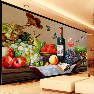 浪漫餐厅酒杯十字绣新款客厅红酒果香十字绣玫瑰酒杯风景现代