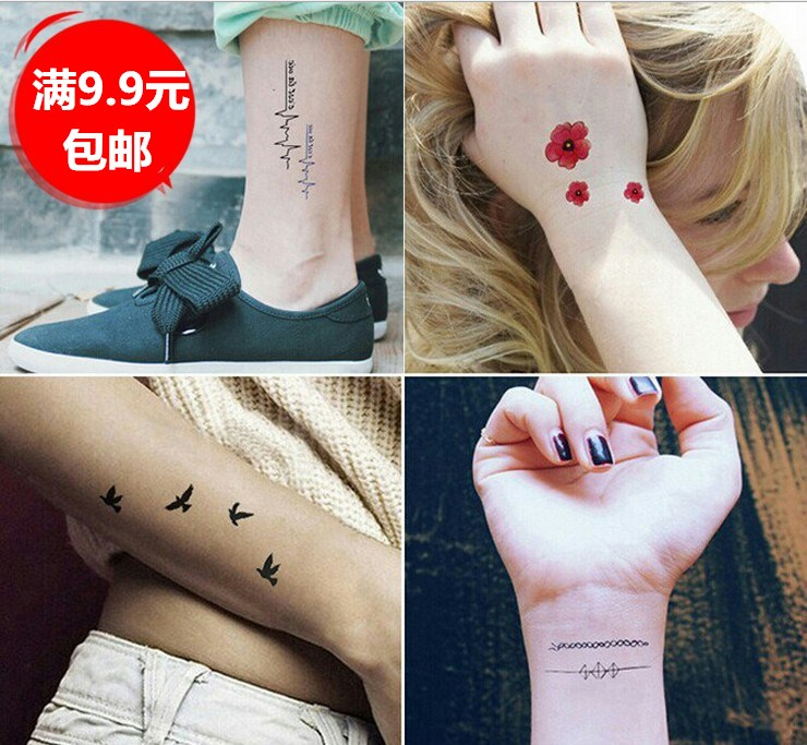 Korean man and woman tattoo, letters, letters, waterproof, long-lasting tattoos, smiley stickers, patches, butterfly roses, simulation