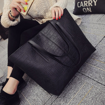 2016 winter new trend of the European and American women's crocodile pattern shoulder bag fashion casual bag simple large bag