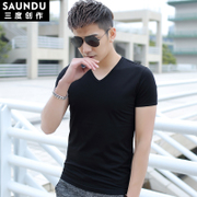 2 pieces of modal short sleeved t-shirt men's clothes collar V pure black slim shirt half sleeve Sweatshirt