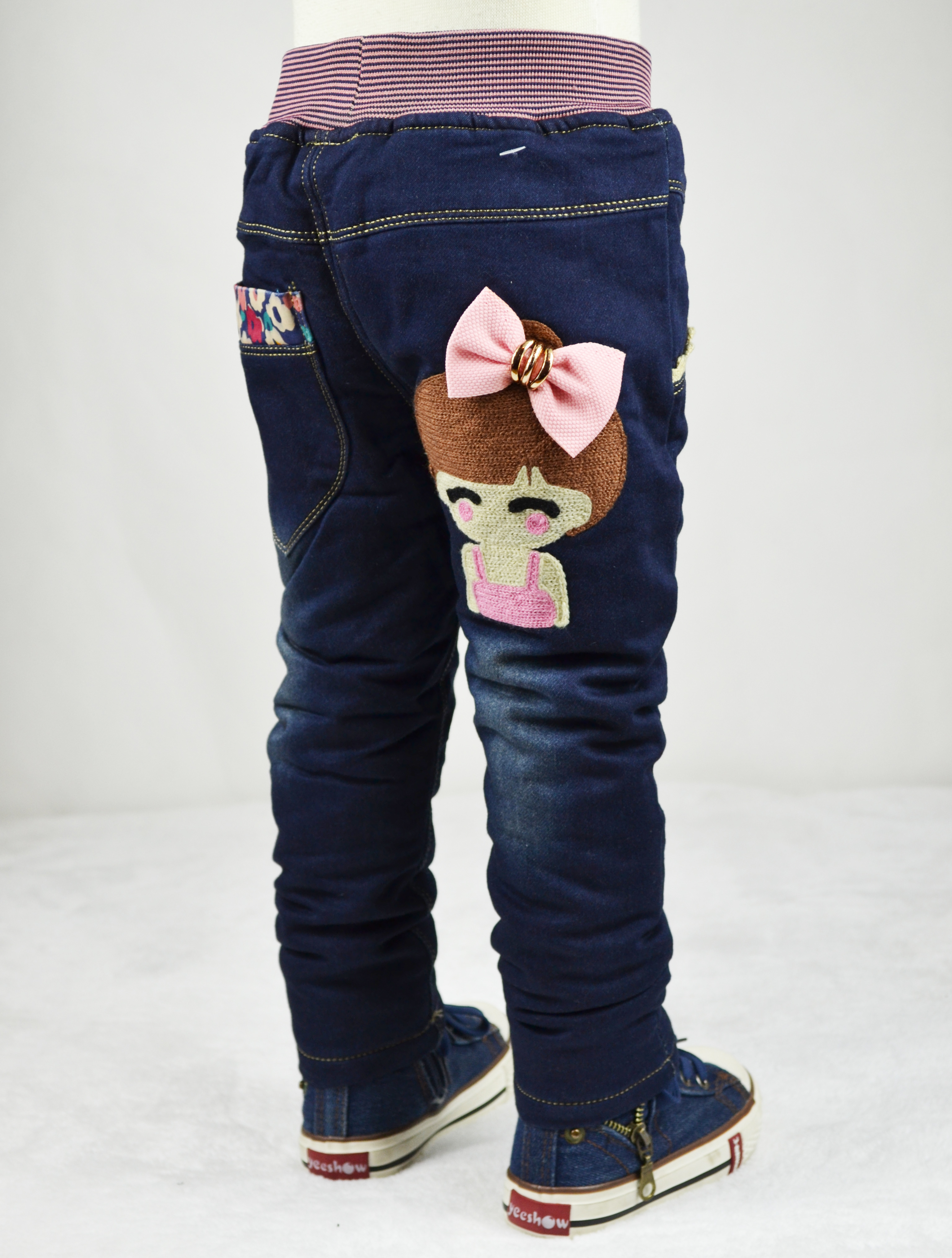 Autumn and winter clothing and cashmere cotton thickened Korean girls 1-2-3-4-5-6 years old children with cotton trousers jeans