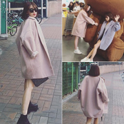 Long size 2016 new winter coat in Korean loose thin wool coat profile of female students tide