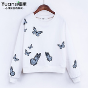 Spring 2017 yuan, with long sleeved cashmere round neck sweater female Korean short sleeve head loose butterfly print coat