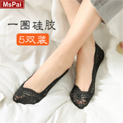 Lace socks female thin cotton in spring and summer and anti stealth silicone shallow mouth socks off low foot socks