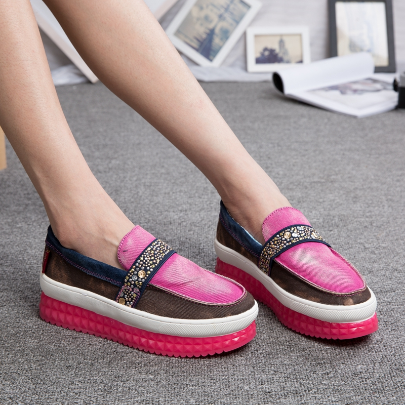 Mai Tu spring shoes new go casual shoes shoes folk style denim canvas shoes Rhinestone platform shoes