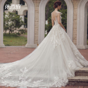 The bride wedding dress long tails Princess 2017 New Europe wedding Mori thin code simple light
