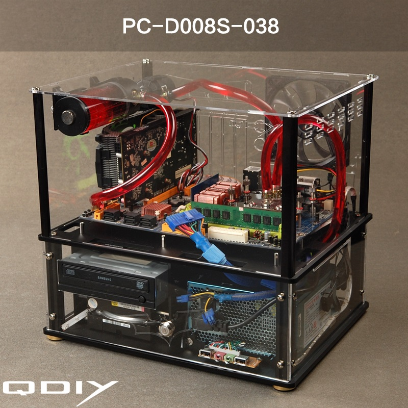 QDIY new water transparent acrylic transparent chassis the chassis cooling ATX closed computer Cabinet