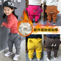 Baby pants baby pp pants childrens trousers for men and women in autumn and winter warm winter coats and cashmere thickening harem pants