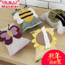 Garden fabric bag cartoon creative living tissue box cotton restaurant paper lovely car with tissue paper packs