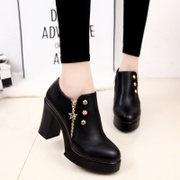 2017 autumn winter new Korean high heels female with coarse all-match small leather shoes shoes with velvet shoes female wind Harajuku