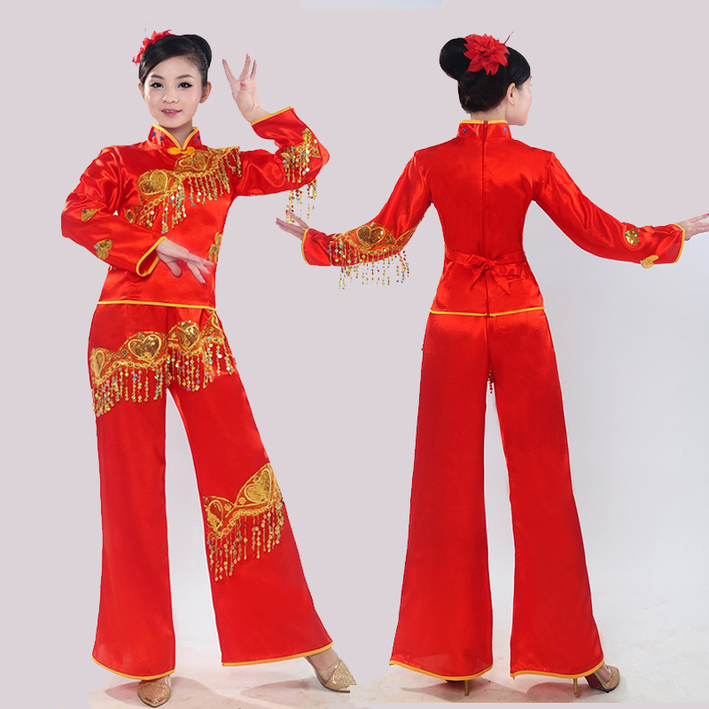 New Yangge in the 2015 winter quarter taking square dance costume performance wear waist drum dance fan dance clothing