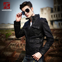 Mo Chen genuine leather leather slim thin short youth casual Korean version of motorcycle leather jacket mens jacket