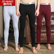 Jian Dan bird men's single male youth long johns Leggings slim pants warm cotton trousers thin tight pants