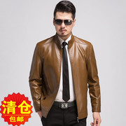 Haining genuine leather leather jacket collar middle-aged man and thin with velvet jacket men's father put leather