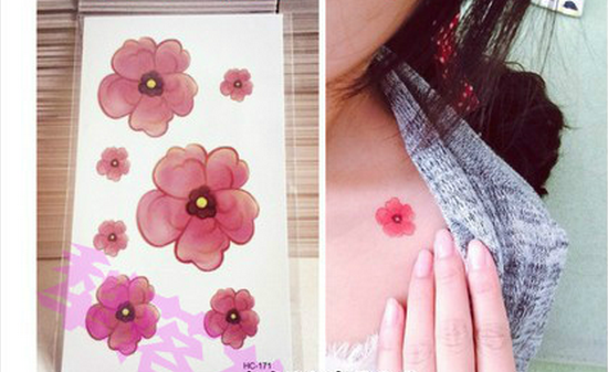 Wrap small fresh cherry blossom tattoo stickers, watercolor, safflower tattoo affixed, waterproof personality 3 pieces
