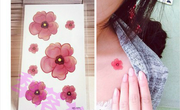 Bao Bao small fresh cherry blossom tattoo stickers watercolor pink tattoo stickers waterproof 3 Pack