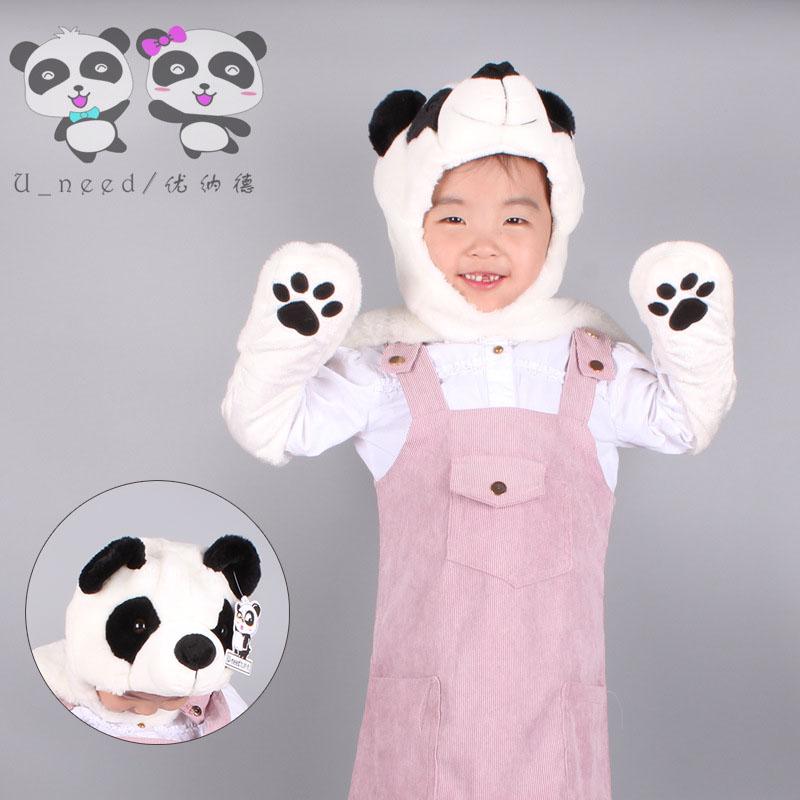 秋冬卡通熊猫连体帽子围巾手套一体三件套加厚保暖帽子女亲子礼物