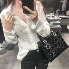 Render the white shirt long sleeved autumn spring 2017 new female small fresh coat shirt western style soft sister polo shirt tide