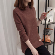 Female winter sweater shirt sweater coat loose sleeved turtleneck half Korean head long with new thickening
