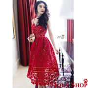 Autumn and winter star red lace lace dress embroidered dress skirt
