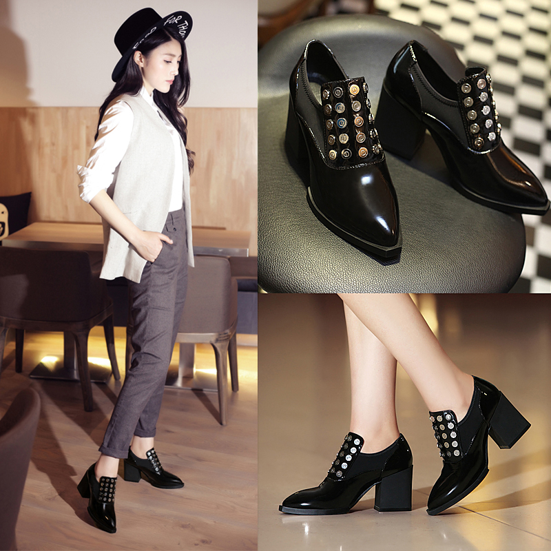 New casual heel rivet tip of England in bold black naked leather boots winter boots and women's shoes